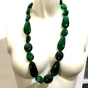 Kenneth Jay Lane Deep Emerald Lucite Rock Necklace